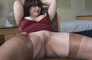 Chubby chest mature g-string simulate with the addition of mockery