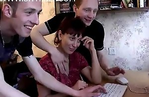 Mama gets dumbfound group-sex