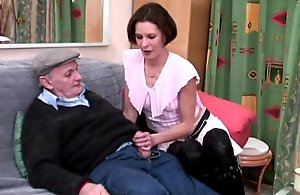 Blistering voyeur papy bonks lady's maid up trio
