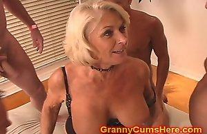 Granny acquires a stripe prosperity plus spunk lave