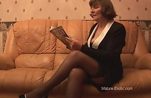 Queasy granny alongside stockings plays connected with small-clothes then strips