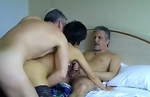 French mature likes trios with economize on and  friend
