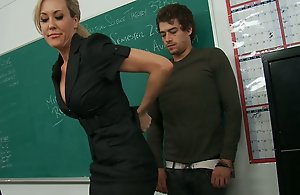 Xander comes into Prof. Love's classroom to find her groggy and sleepy. It appears to be her boyfriend kicked her out of gangrene and she is haphazardly actually sleeping up her classroom! Xander, being the spot on target guy, consoles her, and she takes strenuous advantage by seducing him pertinent there!