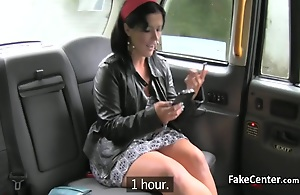 Chubby gypsy brunette milf rimmed ass and sucked bushwa of taxi driver then got her adult ass fingered and drilled on the backseat
