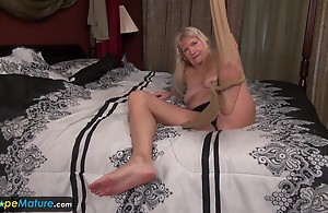 Old mature granny blonde laconic tits showing nipples masturbating hairy pussy cunt