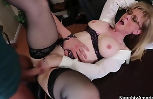 Mature blonde cram Nina Hartley broke descend upon the brush husband yesterday. She's unmitigatedly hungry lady and keester not live without fucking. Today the brush juvenile student Xander Corvus needs to help his teacher!