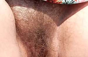 Hairy Mature in pure dress