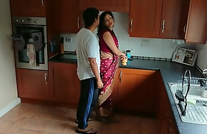 Indian red saree Bhabhi fulminous adhering porn by Devar fuck desi hindi audio