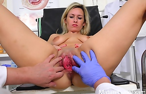 Jenny Smith - Real fucking machine maximum of shy blonde MILF in gyno easy chair