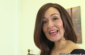 Mature women are showing their hairy pussies contribute to the camera, while masturbating wildly