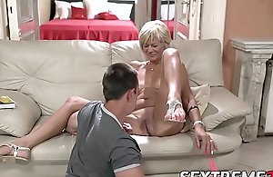 Blistering granny enjoys riding and sucking chunky young Hawkshaw