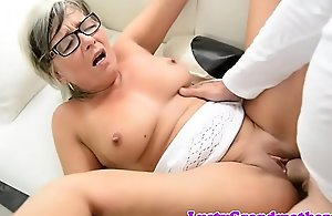 Spex granny fucked and jizzed on high tits