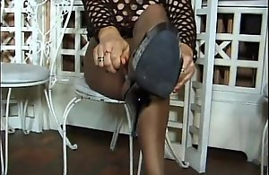 Footplay approximately nylons
