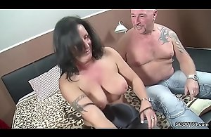 German Couple approximately Arch Time eon Trine nigh Fat Mamma MILF