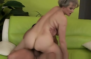Mature hairy granny at hand big tits fucked by guy