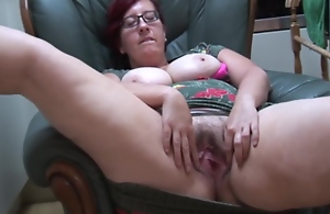 Busty Bbw Mummy Jayne L In Pantyhose Does Striptease With the addition of Toy Play