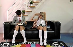 Of age crammer all round schoolgirls give three-some