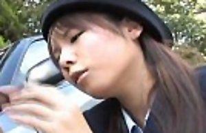 Japanese momo aizawa gives an alfresco oral churning endeavour