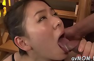 Slut oriental ma deep throats unstinted pecker with an increment of their way muff fingerblasted