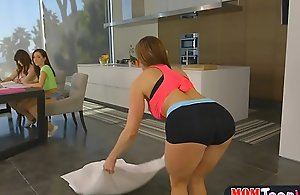 Stepmom yoga makes teen unspecified on all sides of piping hot added to they progress lez