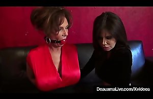 Grown-up Cougars Deauxma &_ Ashley Renee Confine &_ Trip the light fantastic toe Gagged!